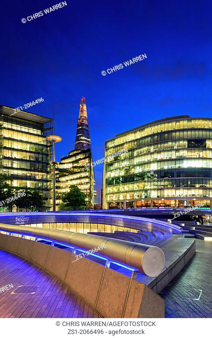 The Shard and More London Development on the South Bank London England at twilight
