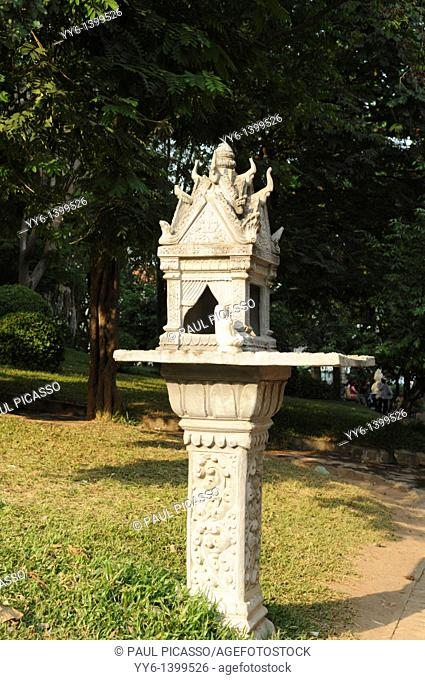 spirit house in the gardens of Old Temple by the Mekong river, phnom penh , cambodia