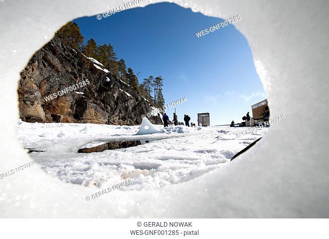 Russia, Arctic Circle Dive Centre, polar circle, ice hole