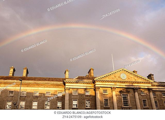 Rainbow and Trinity College, Dublin, Ireland, Europe