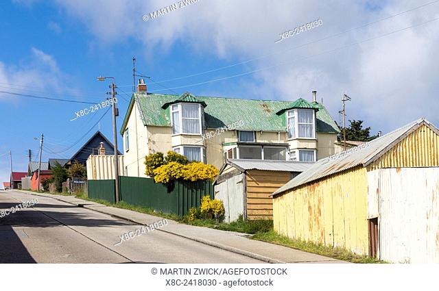 Stanley, the capital of the Falkland Islands in the South Atlantic. Traditional Colonists Cottages. South America, Falkland Islands, January