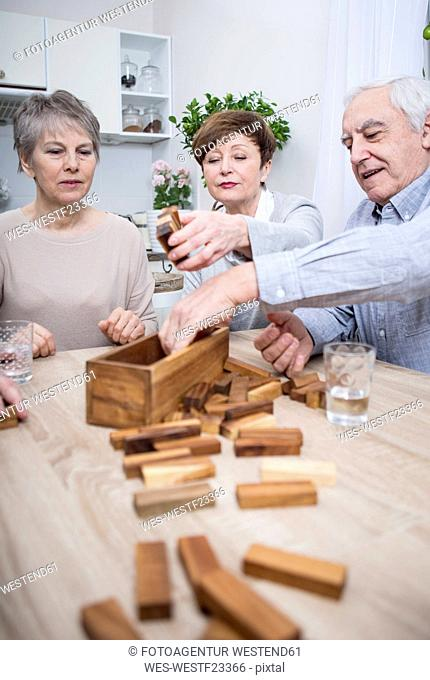 Group of seniors having a games evening at home