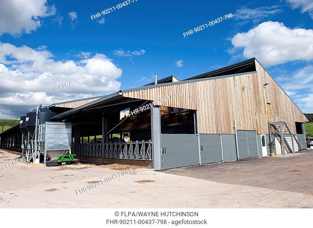Dairy farming, new dairy unit building, built on greenfield site, Dumfries, Dumfries and Galloway, Scotland, June
