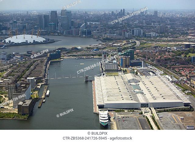Aerial view of the ExCel Exhibition Centre, Royal Victoria Dock, the Millennium Dome and Canary Wharf, Thames Gateway, London, UK