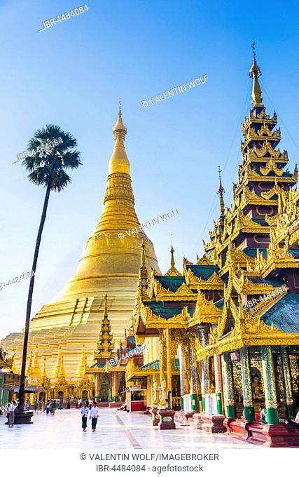 Golden Shwedagon Pagoda, main stupa, stupa, Shwedagon Paya, Shwedagon, Rangoon, Myanmar