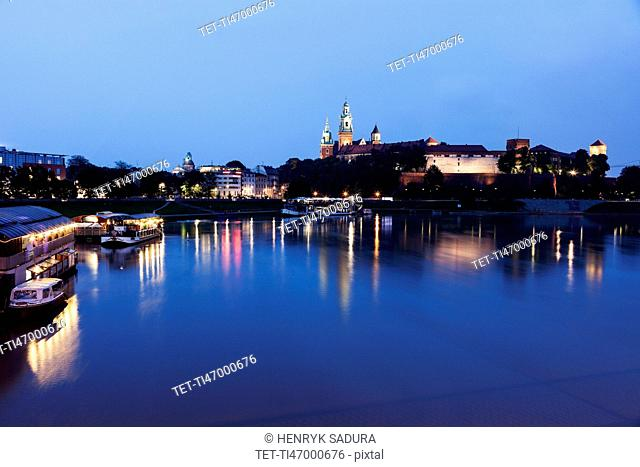 Wawel Royal Castle and Vistula River evening time