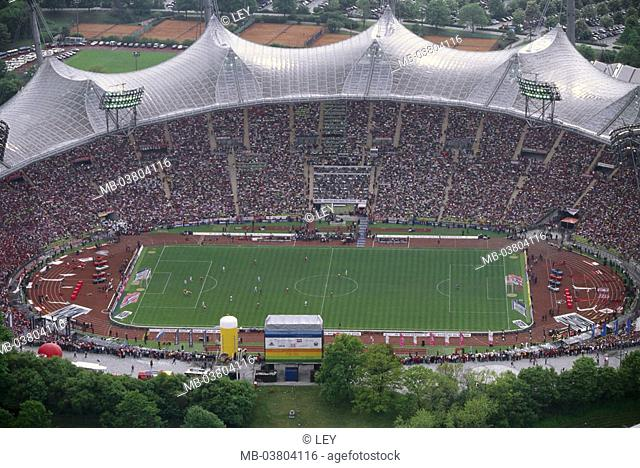 Germany, Upper Bavaria, Munich, Olympiastadion, last soccer game,  Overview, no property release, Europe, Bavaria, head meadow field, Olympiagelände