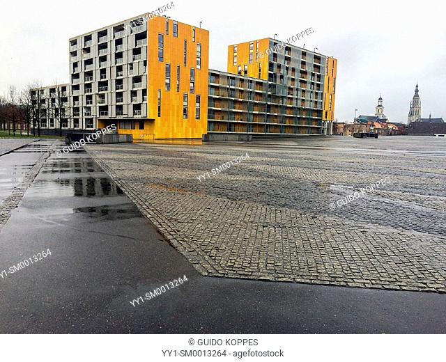 Breda, Netherlands. Modern apartment buildings at the end of a concrete square in the down town Chasse Park