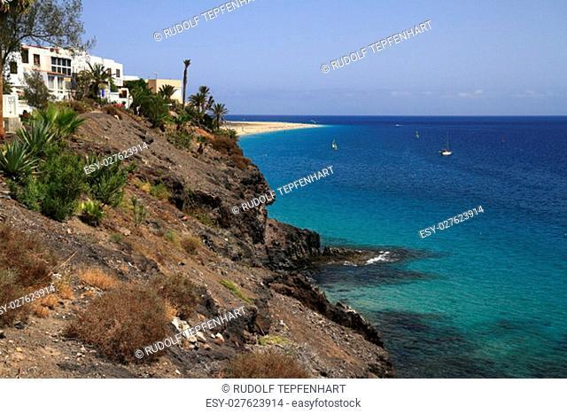 The famous lagoon in Caleta del Fuste, Fuerteventura, Canary Islands, Spain