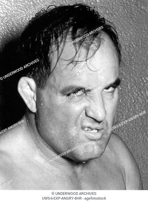 Los Angeles, California: c. 1935.Wrestler Lee Wykoff with a sneer