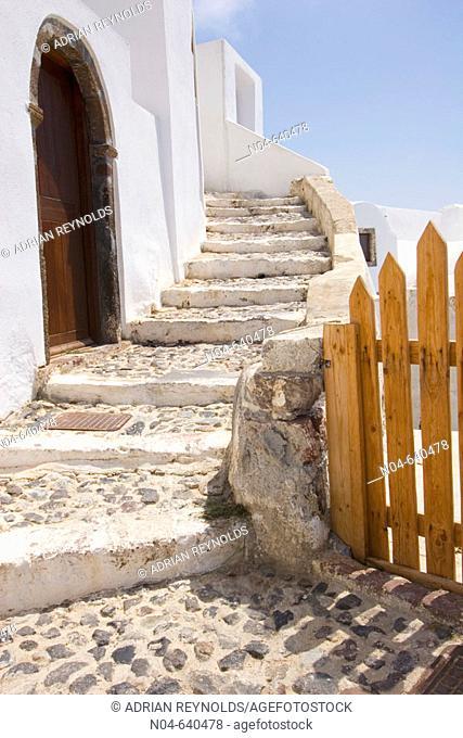 Winding staircase and fence. Santorini. Greece