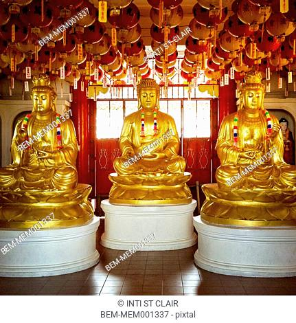 Golden Buddha statues decorated for Chinese New Year