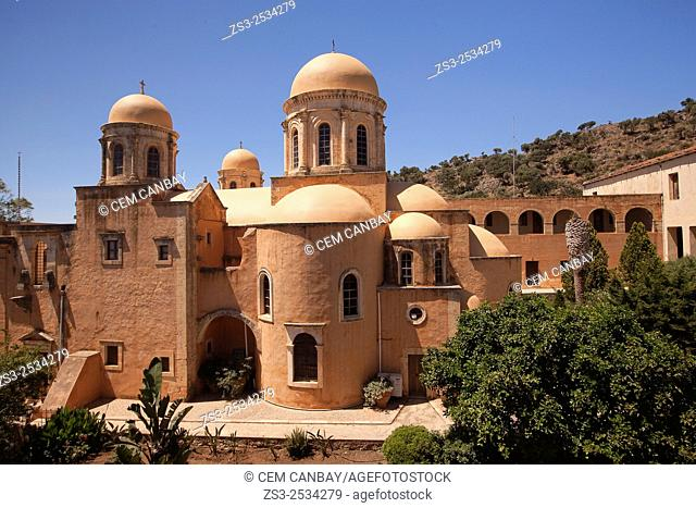 View to the Agia Triada Monastery, Akrotiri Peninsula, Crete, Greek Islands, Greece, Europe
