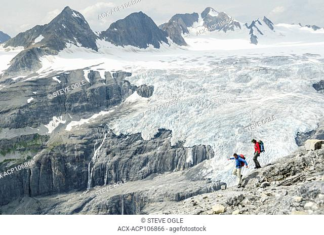 Hiking in front of the Lyell Icefield near Icefall Lodge north of Golden, BC in the Canadian Rockies