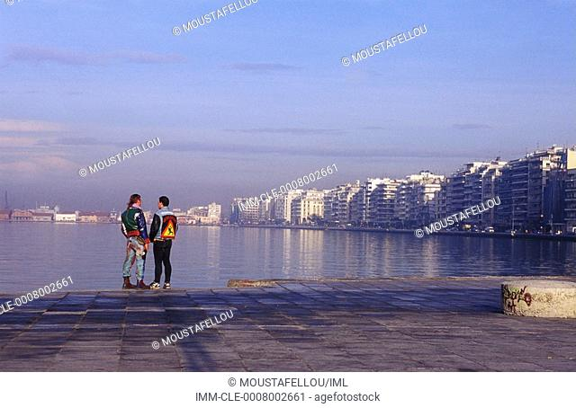View of Port, men standing , Greece:Central Macedonia:Thessaloniki