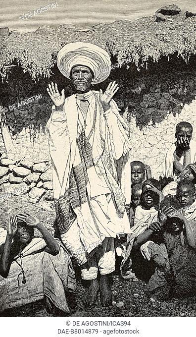 Kasci-Gabri, archpriest of Asmara, Eritrea, engraving by Sabattini from a photograph by Antonio Scotti, from L'Illustrazione Italiana, year 18, no 39