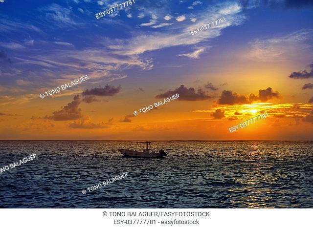 Riviera Maya sunrise in Caribbean Mayan Mexico