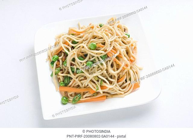 Close-up of noodles in a plate