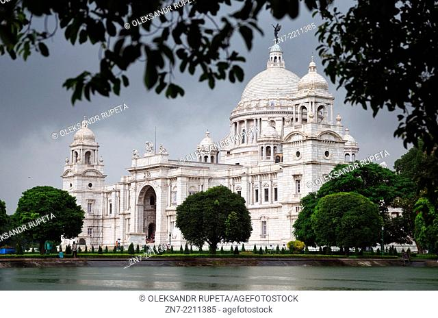Victoria Memorial building during the monsoon season in Kolkata, India