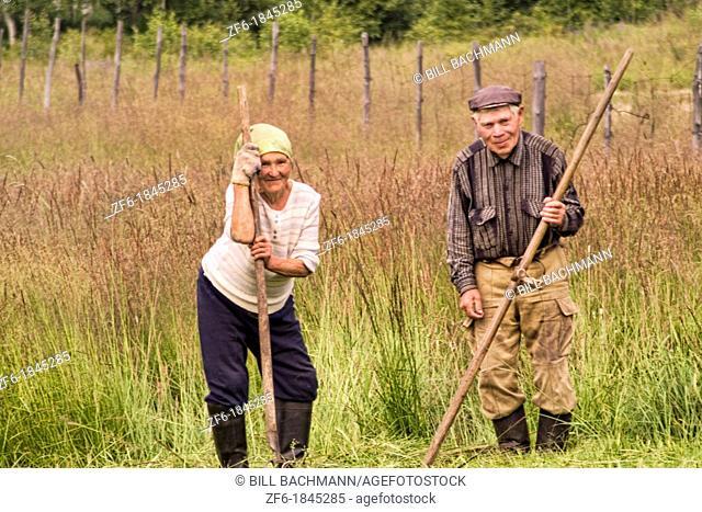 Older Farming Couple in Listvyanka near Lake Baikal Siberia Russia