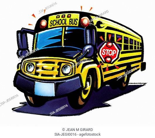 Yellow schoolbus with 'stop' sign
