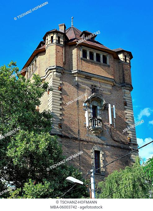 Romania, Banat, city of Arad, city centre, historical old water tower