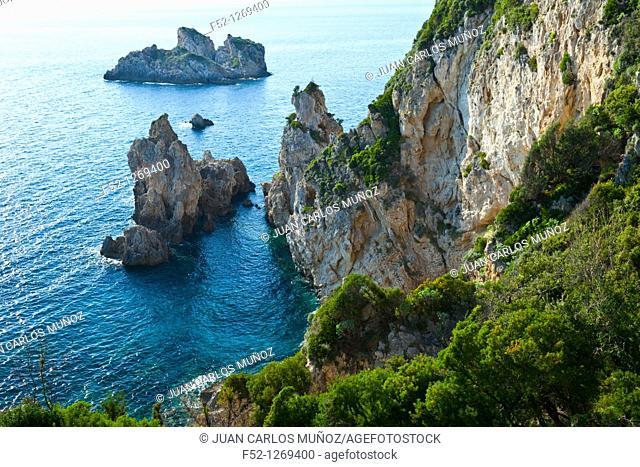 Landscape around the village of Paleokastritsa, Corfu, Ionian Islands, Greece, Mediterranean Sea