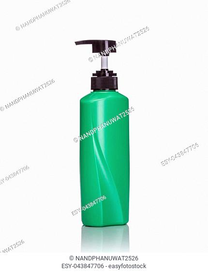 Blank green pump plastic bottle used for shampoo or soap. Studio shot isolated on white background