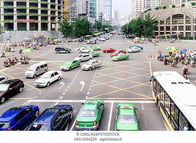 Chengdu, Sichuan province, China - The view at Tianfu Avenue with a heave traffic jam in the rush hour