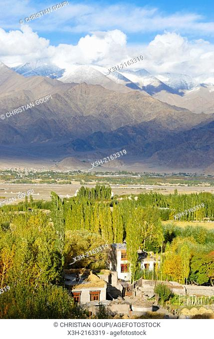 Indus River valley seen from the village of Stok, around Leh, Ladakh region, state of Jammu and Kashmir, India, Asia