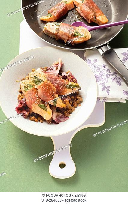 Salmon saltimbocca with lentils and radicchio