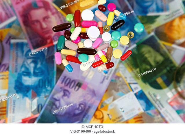 Swiss Franc and tablets as a symbol of health costs - 01/01/2012