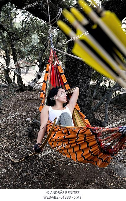 Archeress resting on a hammock