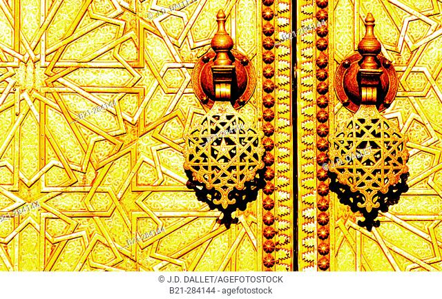 Detail of Royal Palace door. Fes. Morocco