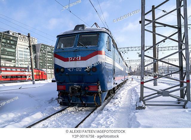 Electric locomotives on Kievskaya railway station in Moscow, Russia