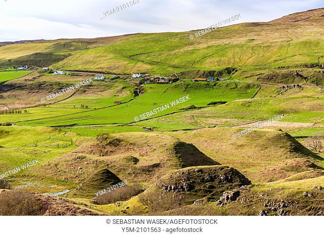 The Fairy (Faerie) Glen near Uig. A bizarre and delightful miniature landscape of grassy, cone-shaped hills on the Isle of Skye, Inner Hebrides, Scotland, UK
