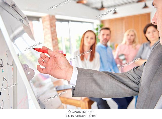 Businessman using whiteboard in presentation