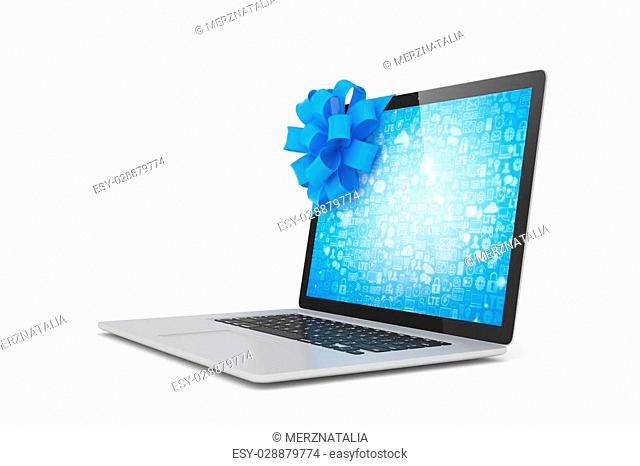 Laptop with blue bow and blue screen. 3D rendering