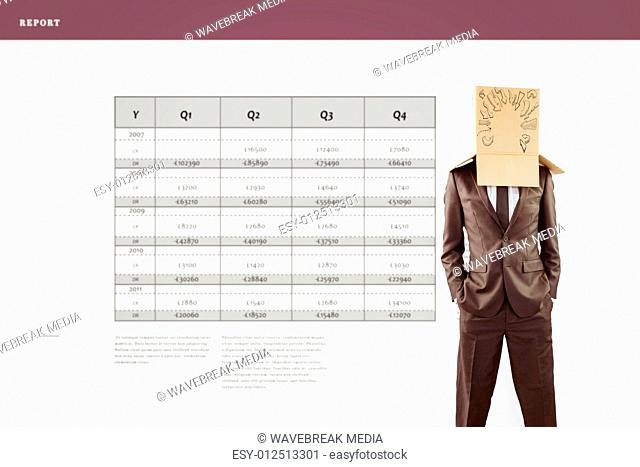Composite image of anonymous businessman with hands in pockets