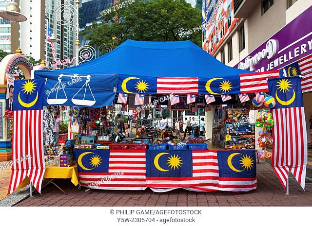 Flags and bunting mark Malaysia's National Day celebrations in the Brickfields or Little India district of Kuala Lumpur