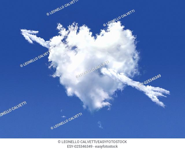 Fluffy cloud of the shape of heart, on a deep blue sky