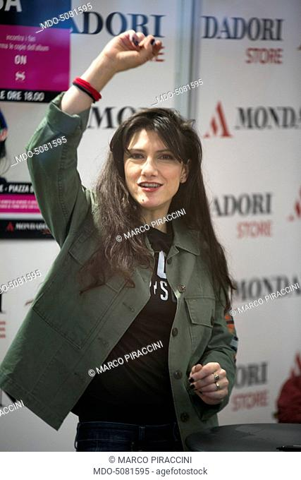 Italian singer-songwriter Elisa (Elisa Toffoli) at the Mondadori Store in Piazza del Duomo of Milan, where she met her fans and autographed copies of her new...