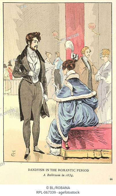 Dandyism in the romantic period. A Ballroom in 1834. A gentleman wearing a grey evening suit and a lady seated wearing a blue dress with white fur