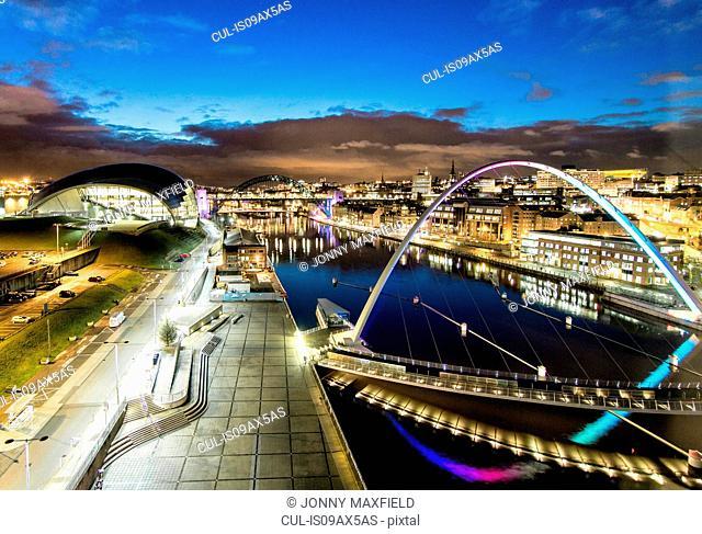 Millennium Bridge, Tyne Bridge and Sage Gateshead at night, Newcastle, UK