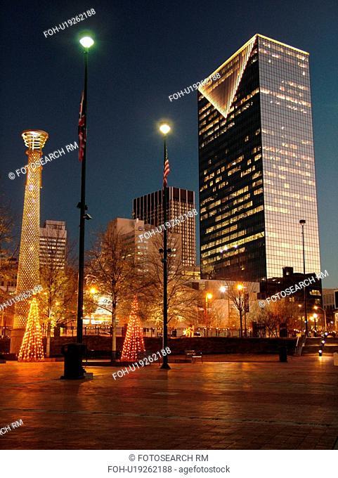 Atlanta, GA, Georgia, Centennial Park, 1996 Summer Olympics, downtown skyline, evening, Christmas decorations