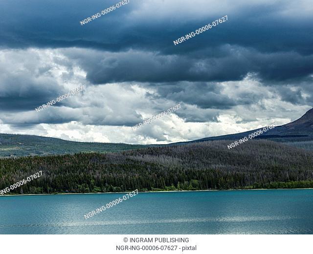 Lake with mountain range in the background, Saint Mary Lake, Glacier National Park, Glacier County, Montana, USA