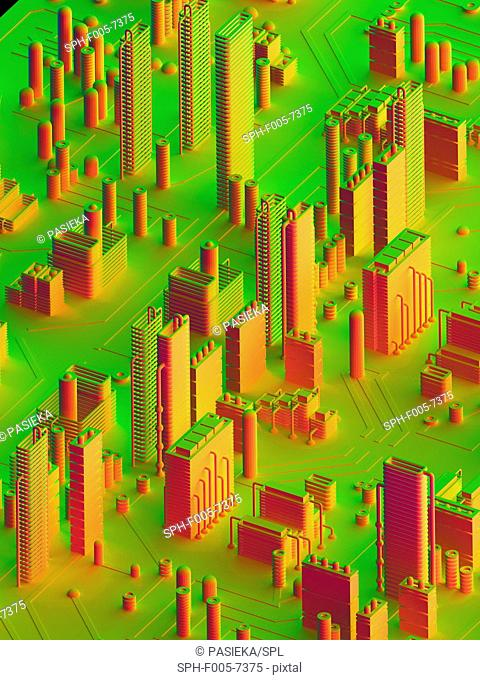 Computer artwork of a conceptual circuit cityscape made of electronic components