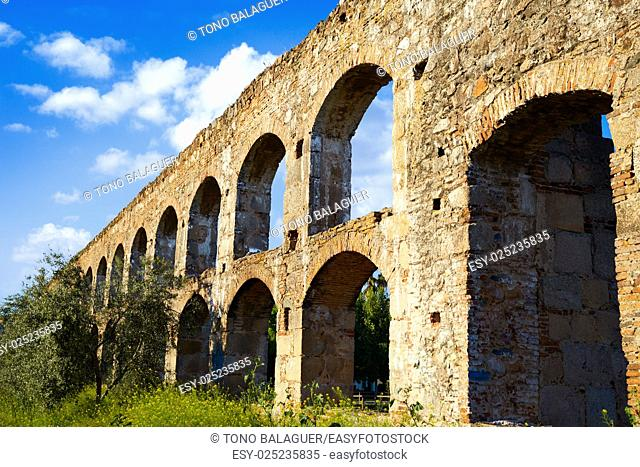 Acueducto San Lazaro in Merida Badajoz aqueduct at Extremadura of Spain