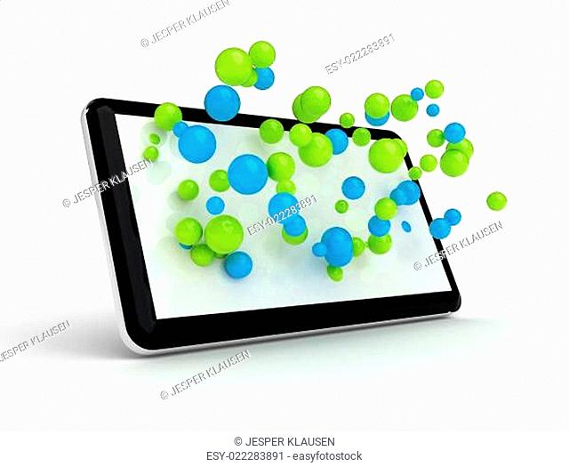 Tablet with 3d spheres