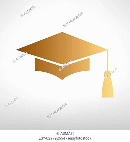 Mortar Board or Graduation Cap, Education symbol. Flat style icon with golden gradient